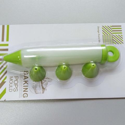 Декоратор малый, силиконовая ручка для декорирования d=2мм + 3 узорные сменные насадки