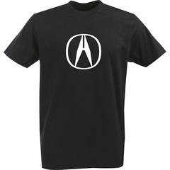 Футболка с однотонным принтом Акура (Acura) черная 001