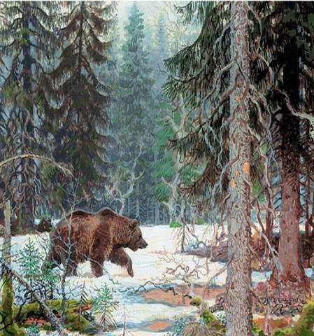 Алмазная Мозаика 40x50 Бурый медведь бродит по лесу (арт. GA70484)
