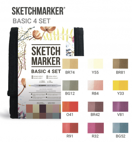 Набор маркеров Sketchmarker Basic 4 12шт базовые оттенки + сумка органайзер