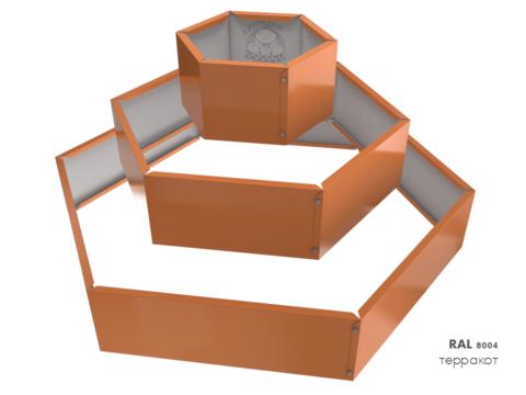 Клумба многоугольная оцинкованная Альпийская горка 3 яруса RAL 8004 Терракот