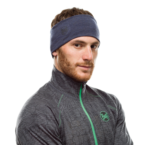 Шерстяная повязка на голову Buff Headband Midweight Wool Night Blue Melange фото 2