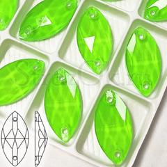 Стразы пришивные неоновые купить оптом Neon Green, Navette