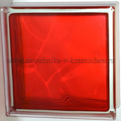 Стеклоблок красный волна окрашенный изнутри Vitrablok 19x19x8
