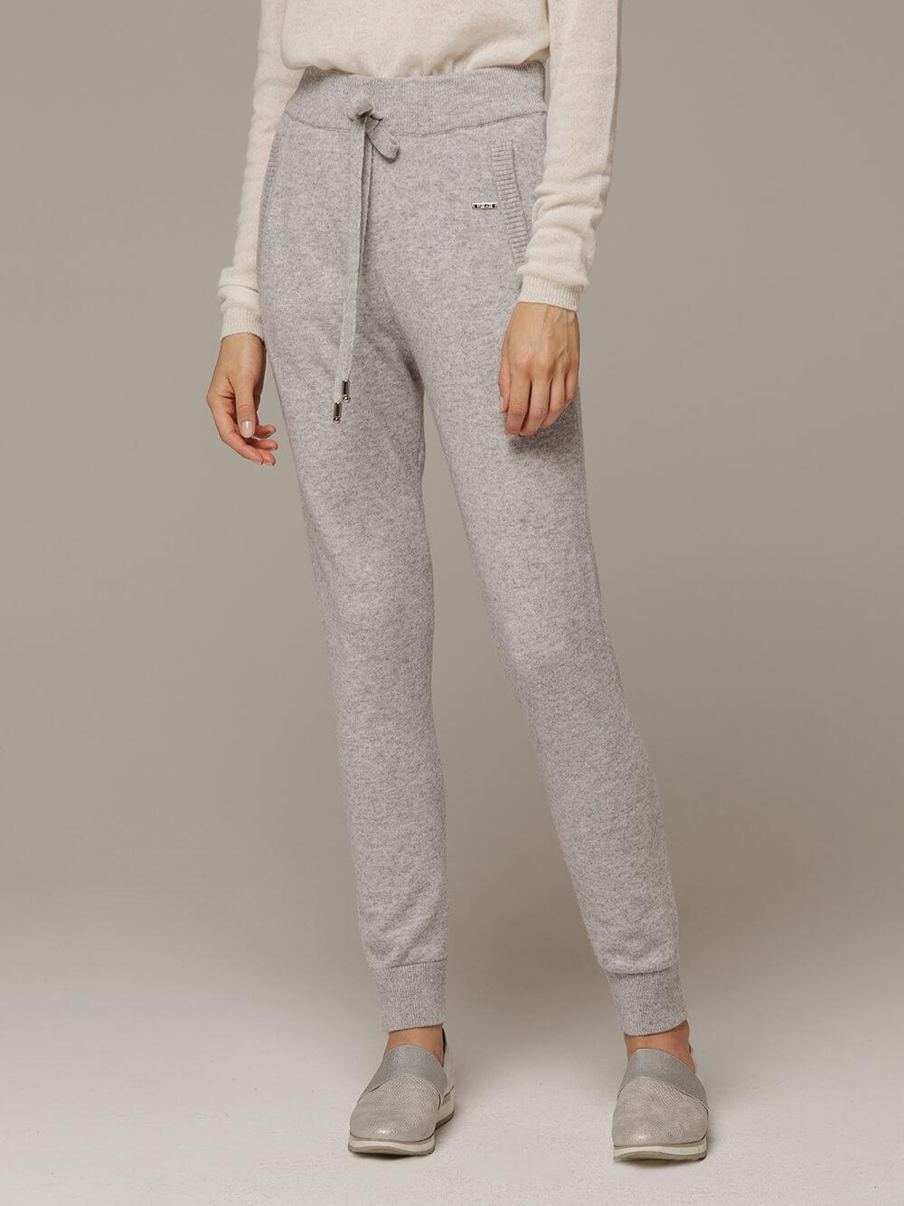 Женские серые брюки с карманами из шерсти и кашемира - фото 1