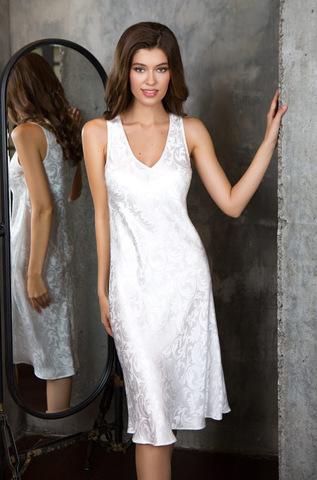 Шелковая белая сорочка на широких бретелях длинная Mia-Mia