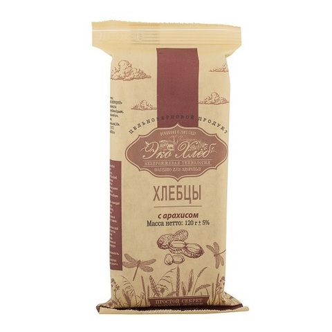 Хлебцы пшеничные бездрожжевые пророщенные, Эко-хлеб, с арахисом, 120 г