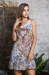 Платье мини Mia-Mia голубые огурцы