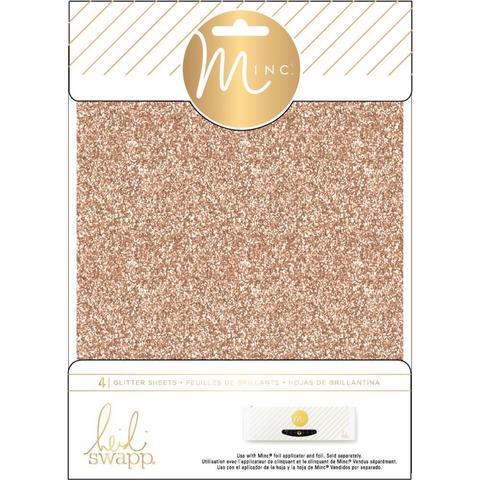Фольга с глиттером для фольгирования Heidi Swapp Minc Glitter Sheets- Rose Gold