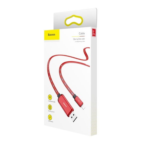 Кабель Baseus Glowing Data cable USB For Lightning Red