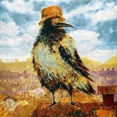 «Важная птица» Наволочка гобеленовая 30х30 см