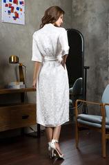 Халат из натурального шелка белый 15157 Mia-Mia