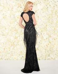 Черное платье в пол вышитое бисером Goddess 1685