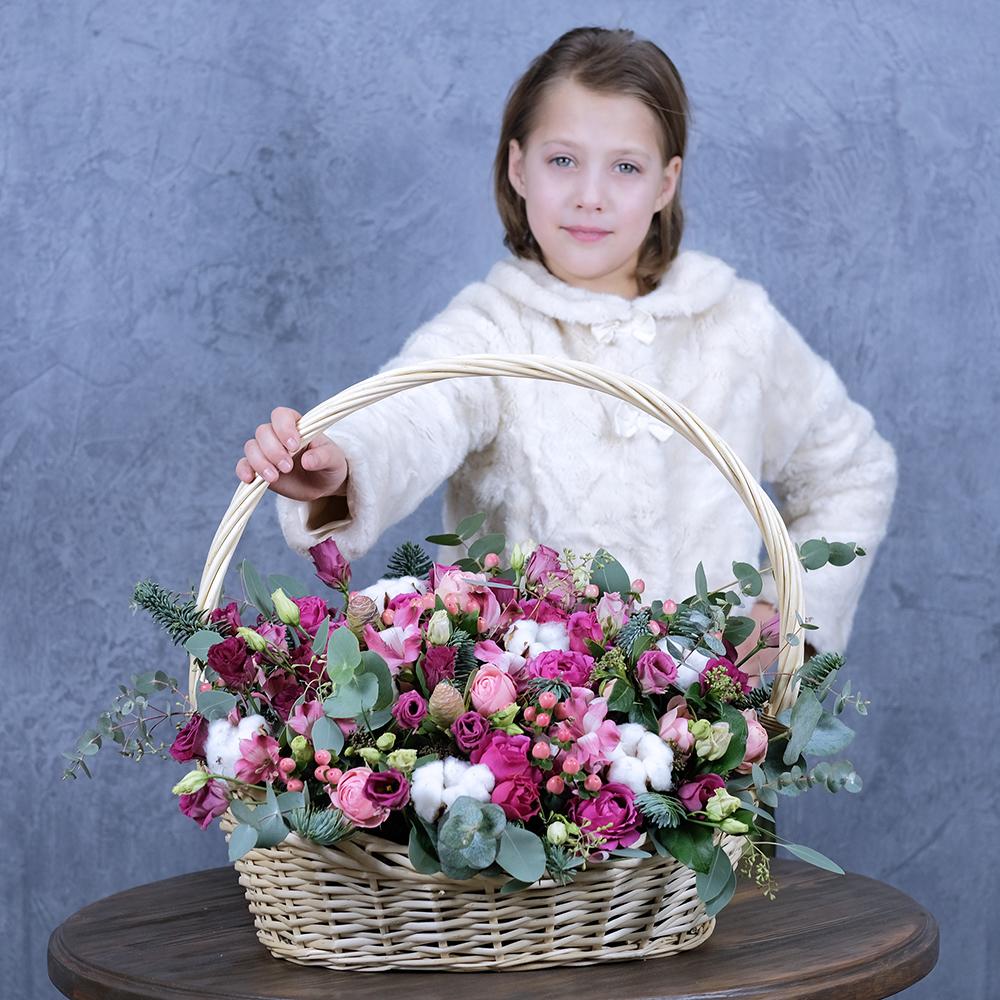 Корзина с пионовидными розами Пермь заказать купить онлайн