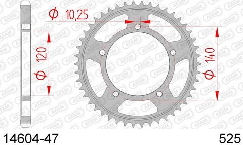 Звезда задняя SUZUKI GSX 750, 1200 (ведомая) стальная, 525, AFAM (JTR1792.47)
