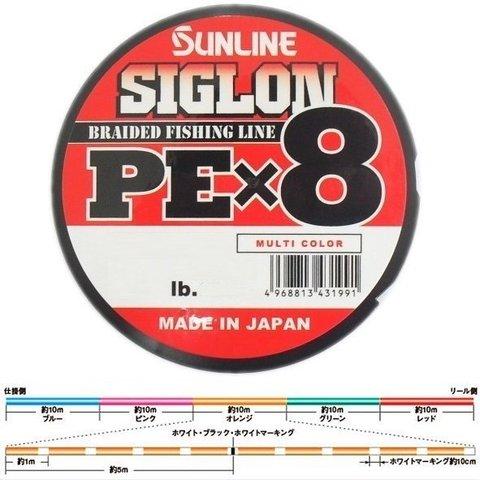 Плетенный шнур SUNLINE SIGLON PE X8 100M MULTI COLOR #12 160LB
