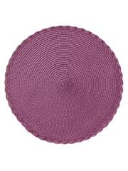 Термосалфетка круглая кухонная плейсмат Dutamel салфетка сервировочная плетеная фиолетовая DTM-015 диаметр 30 см - 1 шт окантовка косичка