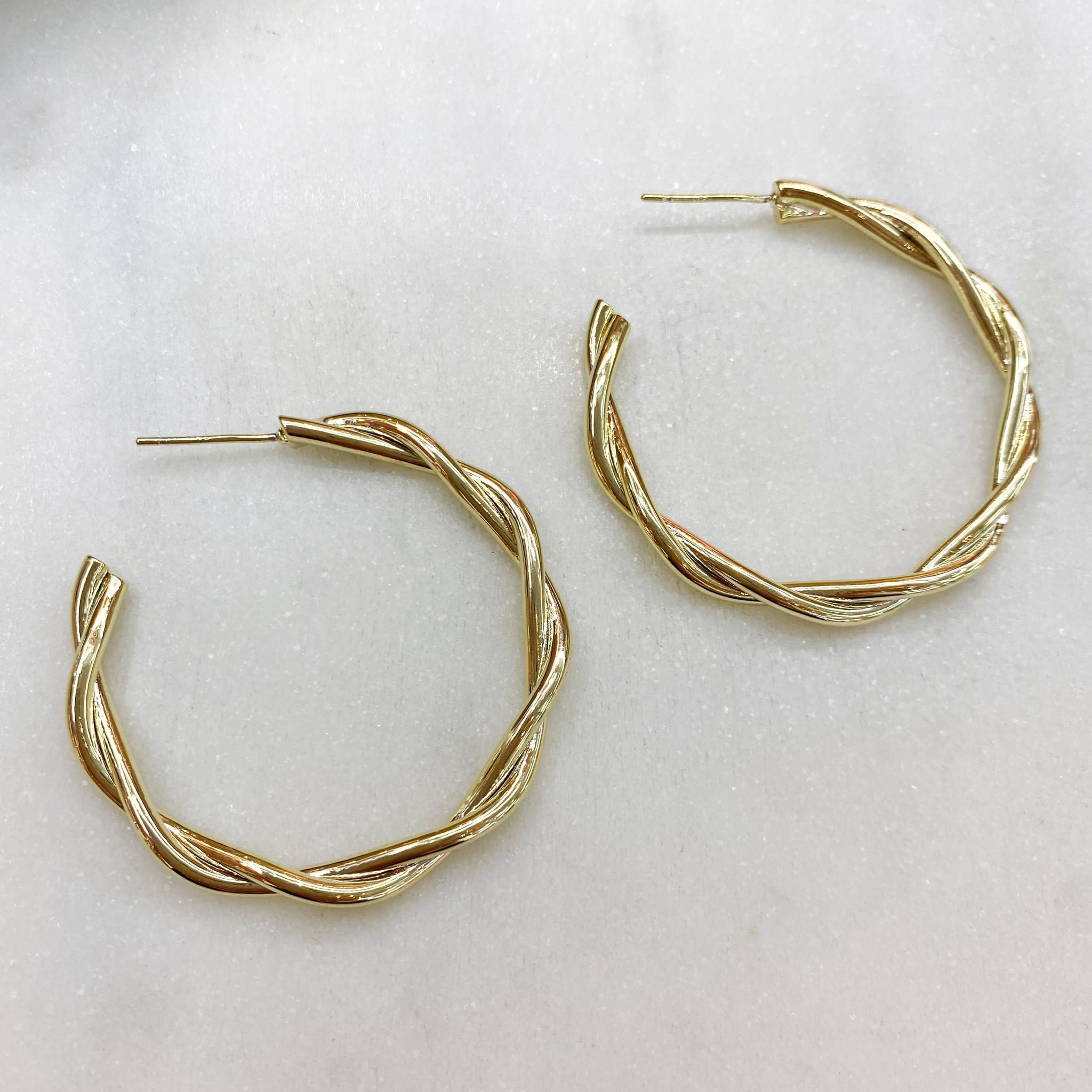 Серьги-конго перекрученные 4 см, ш925 сталь (золотистый)