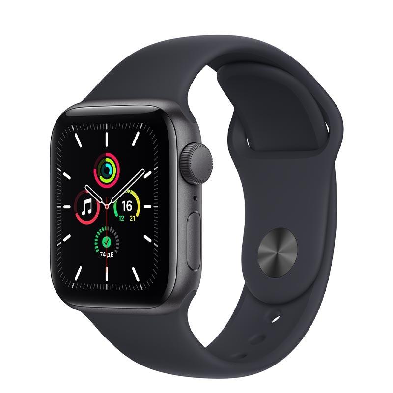Apple Watch SE, GPS, 40 мм, алюминий цвета «серый космос», спортивный ремешок цвета «Тёмная ночь»