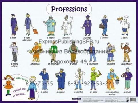 Профессии. Professions. Наглядное пособие, Плакат.