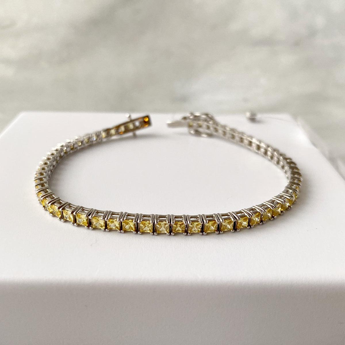 Браслет Теннисный квадратной огранки yellow diamond (серебро 925)