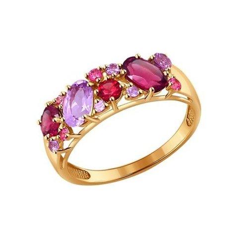 714175 - Кольцо из золота с полудрагоценными вставками