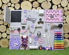 Бизиборд стандарт 50х65 см с ксилофоном Розово-Фиолетовый для девочки