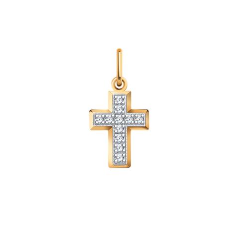 3220-Маленький крестик с фианитами из золота 585 пробы