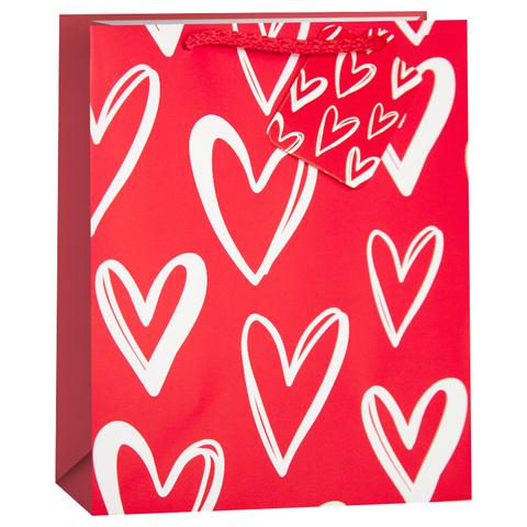 Пакет подарочный, Множество сердец, Красный, 23*18*10 см