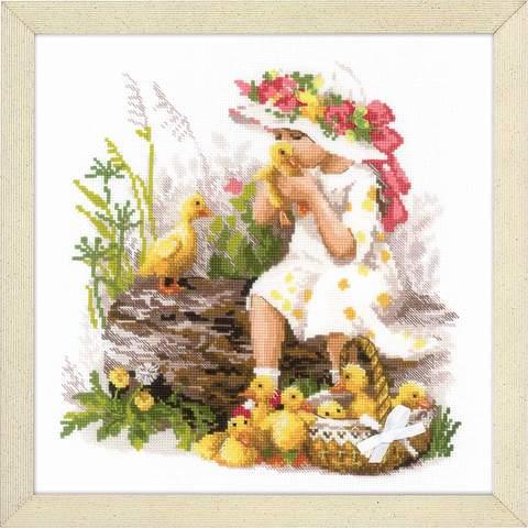 Набор для вышивания крестом «Девочка с утятами» (1781)