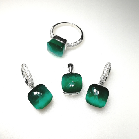 33365 - Комплект Caramel из серебра с зеленым кварцем 3 изделия