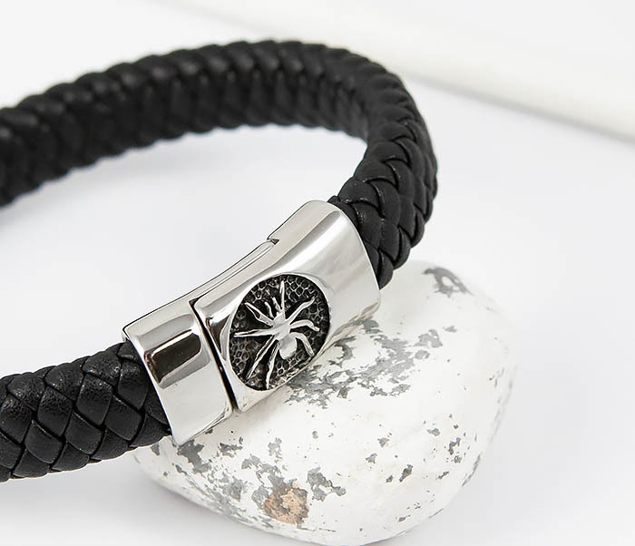 BM511 Мужской браслет с пауком на застежке (21 см) фото 04