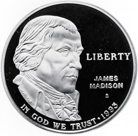 1 доллар. Джеймс Мэдисон. Билль о правах (S) 1993 г. PROOF