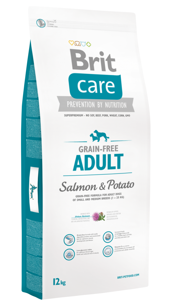 Brit Беззерновой корм для собак всех пород, Brit Care Grain Salmon All Breed, с лососем и картофелем Brit-Care-Grain-free-Adult-Salmon-and-Potato-12kg.png