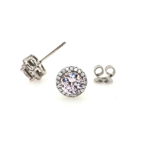 69852- Круглые серьги - гвоздики из серебра с бледно-розовым камнем