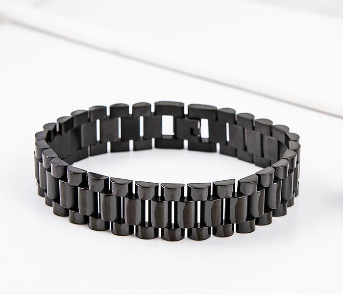 BM556 Широкий стальной браслет черного цвета