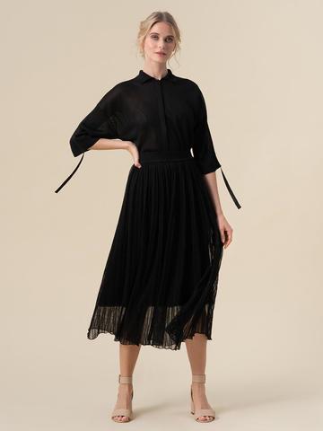 Женская двухслойная юбка черного цвета из вискозы - фото 2