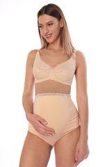 Euromama/Евромама. Трусы для беременных высокие с кружевом, бежевые вид 3