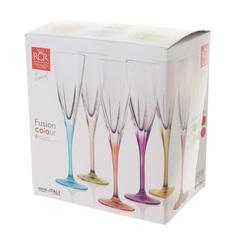 Набор фужеров 6 шт для шампанского RCR Fusion 170 мл, цветные, фото 2