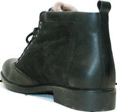 Хорошие зимние ботинки мужские с мехом Luciano Bellini 6057-58K Black Leathers & Nubuk.