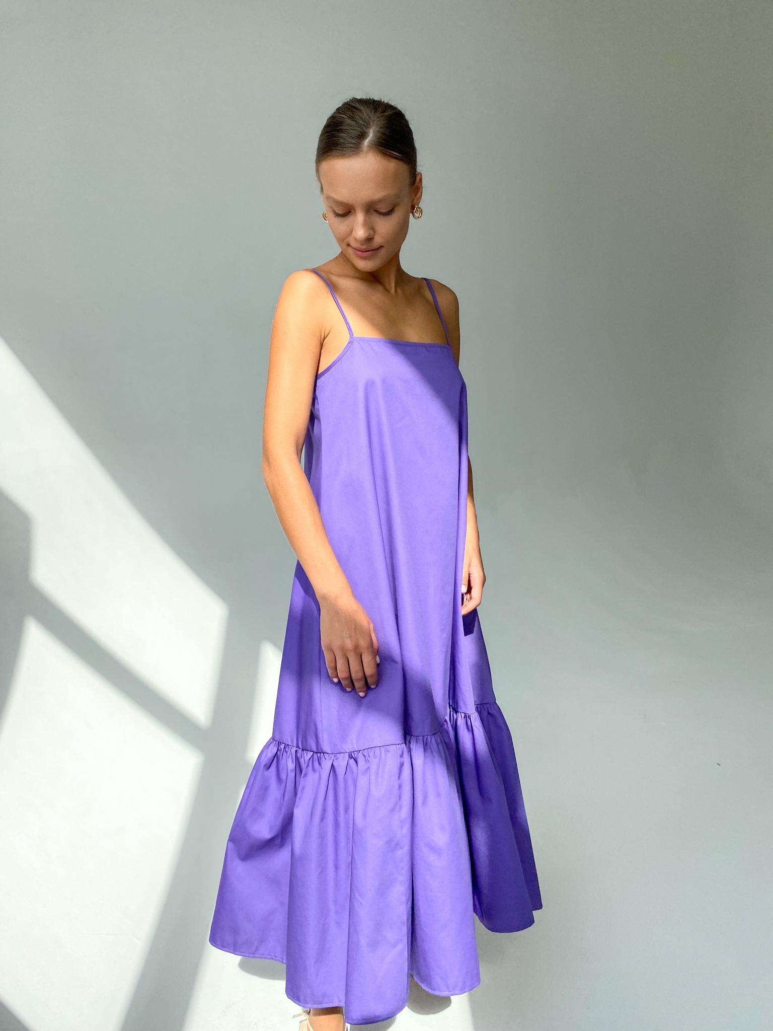 Платье-трапеция из хлопка (фиолетовый)