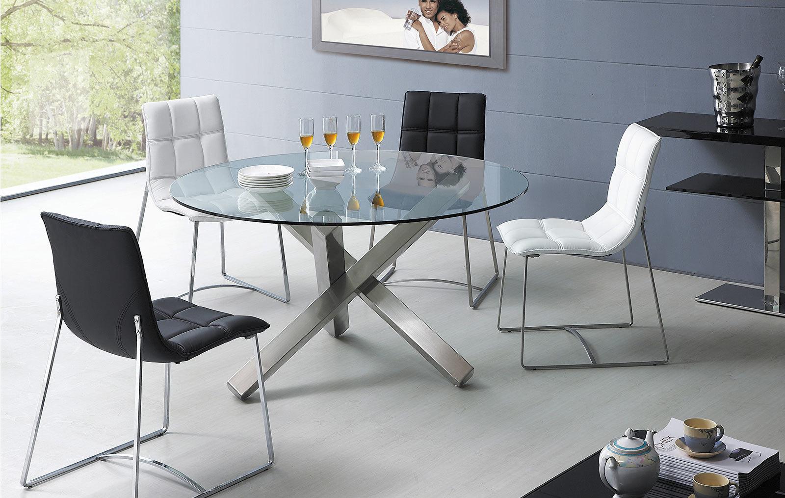 Стулья ESF BZ500S белые и черные со столом ESF BZ-951