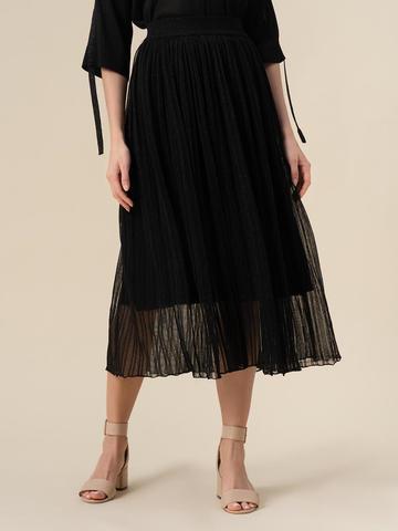 Женская двухслойная юбка черного цвета из вискозы - фото 4
