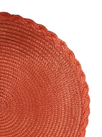 Термосалфетка круглая кухонная плейсмат Dutamel салфетка сервировочная плетеная оранжевая DTM-014 диаметр 30 см - 1 шт окантовка косичка