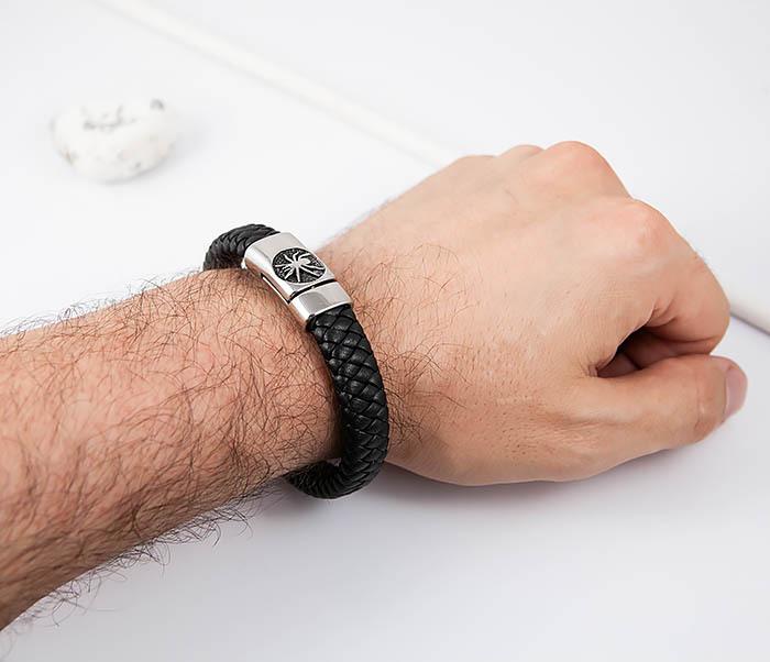 BM511 Мужской браслет с пауком на застежке (21 см) фото 06