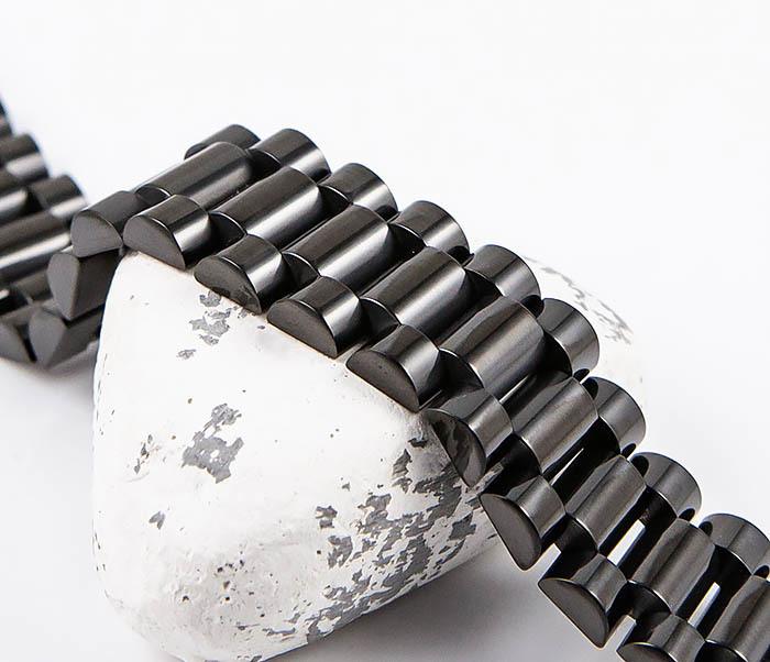 BM556 Широкий стальной браслет черного цвета фото 03