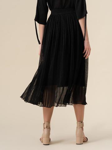 Женская двухслойная юбка черного цвета из вискозы - фото 3