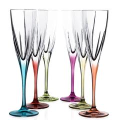 Набор фужеров 6 шт для шампанского RCR Fusion 170 мл, цветные, фото 1