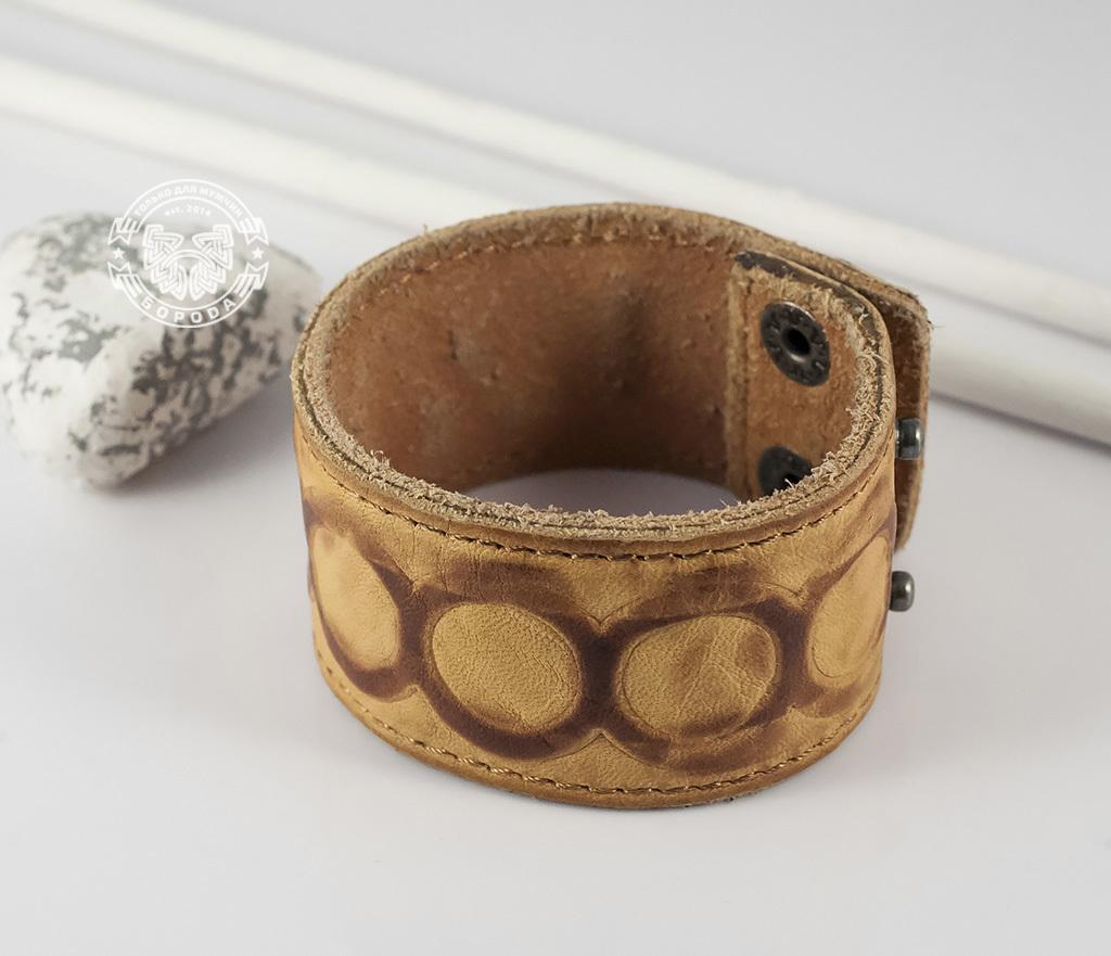 BL392-3 Кожаный браслет песочного цвета «Властелин Колец» на кнопках (17,5 -20 см) фото 03