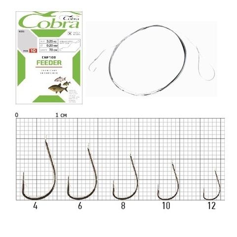 Крючки с поводком Cobra FEEDER 70 см, 0,12 мм, размер 12, упаковка 10 шт.